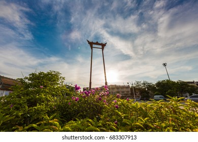 Giant Swing Bangkok Thailand at sunset time