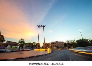 The giant swing landmark of Bangkok with rainbow sky