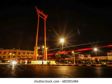 The giant swing is made since the first king of Thailand and it is located in front of the Bangkok city hall in Thailand.