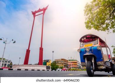The giant swing (Sao Ching Cha) with tuktuk in Bangkok, Thailand