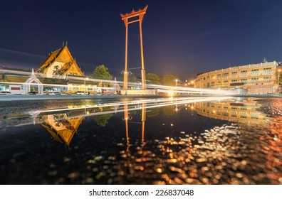 The Giant Swing and Suthat Temple at Twilight Time, in Bangkok  Thailand