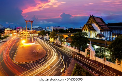 The Giant Swing with Temple of Buddha at dusk (Bangkok, Thailand)