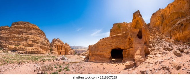 Giant temple of monastery in sandstone at the ancient Bedouin city of Petra, Jordan