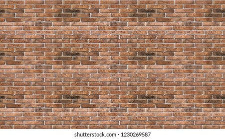 Giant tiled, seamless industrial red brick wall background in Kyiv, Ukraine. May be used in design and interiors.