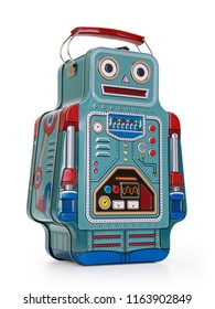 Giant tin robot isolated on white background, contains clipping path