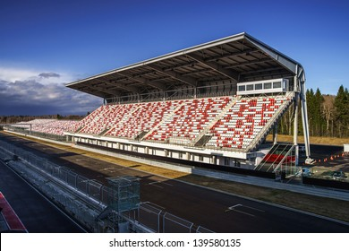 Giant tribune with colorized seats on track