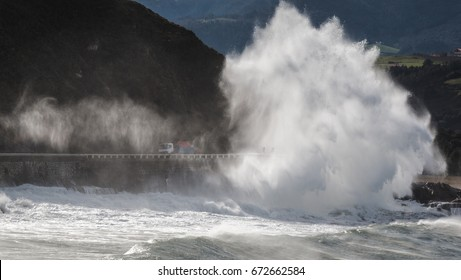 Giant wave hits the road in  Zumaia.