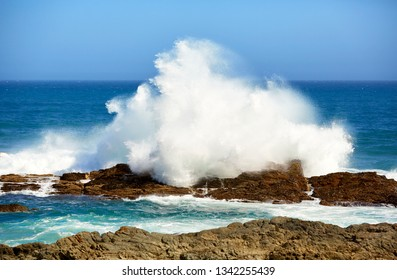 Giant wave on rocky coast in tsitsikama national park, south africa