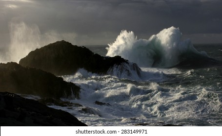 Giant Waves Nature Show crashing against dark colored cliffs, raising a white foam dozens of meters against sky with stormy gray clouds, in a dark green atlantic ocean, with side light of setting sun,