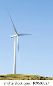 Giant wind turbine on hill