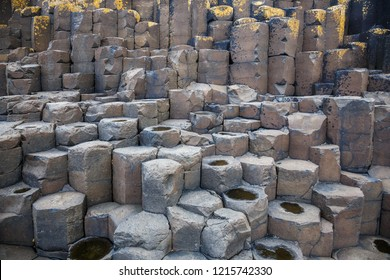 The Giant's Causeway is an area of about 40,000 interlocking basalt columns, the result of an ancient volcanic fissure eruption.