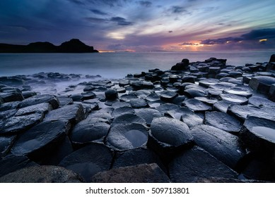 Giant's Causeway, Co. Antrim, Northern Ireland. Sunset
