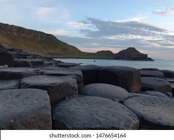 Giant's Causeway, the nature amazing stones in Northern Ireland at night time.