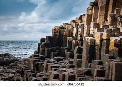 Giants causeway on North coastal way in Northern Ireland