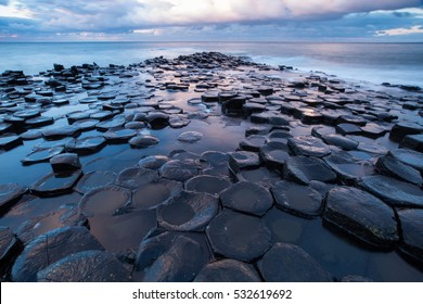 Giant's Causeway at sunset, Northern Ireland