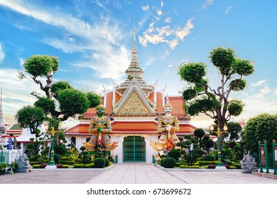 Giants front of the church at Wat Arun. Famous temple in Bangkok, Thailand.