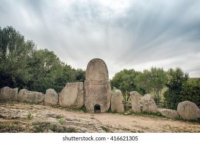 Giants' grave of Coddu Vecchiu, Dorgali Sardinia, a type of Sardinian megalithic gallery grave built during the Bronze Age by the Nuragic civilization.
