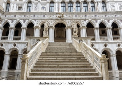 Giant`s staircase of Doge`s Palace or Palazzo Ducale in Venice, Italy. It is one of main travel attractions of Venice. Renaissance architecture in Venice. Best destinations of Venice.