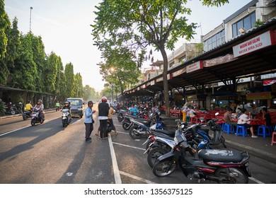 Gianyar, Bali / Indonesia - April 1, 2019 : Main street in Gianyar market.