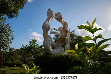 Gianyar, Bali / Indonesia - April 1, 2019 : Statue taman kota Gianyar or city park of Gianyar Regency.