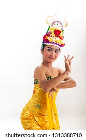Gianyar, Bali / Indonesia - August 2012 : Portrait of  Balinese Woman Dancer. Balinese traditional dress isolated with white background.