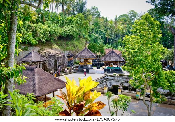 Gianyar, Bali, Indonesia - January, 2020: The ancient temple of Pura Gua Gajah in Bali Island, Indonesia.