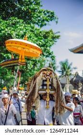 Gianyar, Bali / Indonesia : March 6, 2016 : Melasti ceremony before balinese new year Nyepi in Masceti Beach.
