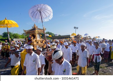 Gianyar, Bali, Indonesia - March 6th 2016 : Balinese people in Bali were doing Melasti ceremony in the beach