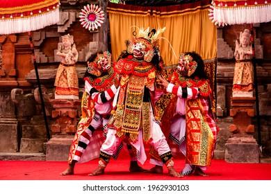 Gianyar, Bali - August 8, 2018: Wayang wong performing arts on stage