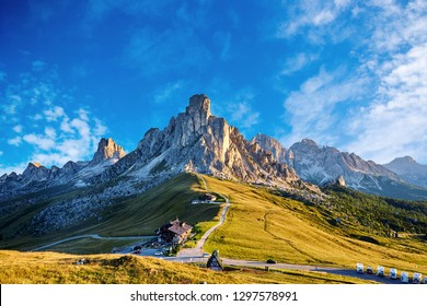 Giau Pass at daylight. Road to the mountain. Clear sky. Italy