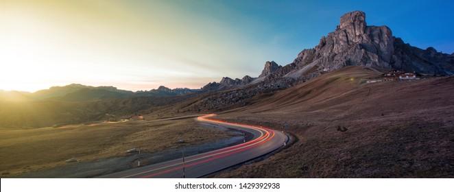 Giau Pass or Passo di Giau high mountain pass in Cortina.