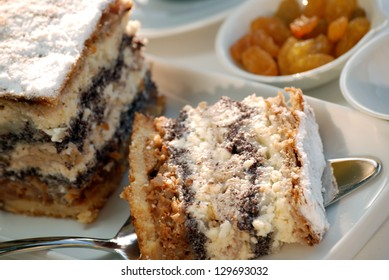 Gibanica - traditional slovene pie, filled with walnuts, poppy, cottage cheese and apples