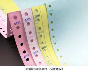 Gibb or Holes beside the continuous paper, Several Colors of Carbonless paper, Carbonless Continuous Paper