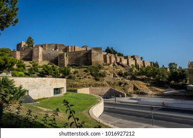 Gibralfaro castle (Alcazaba de Malaga), Malaga, Costa del Sol, Spain, Europe on a bright summer day with blue sky