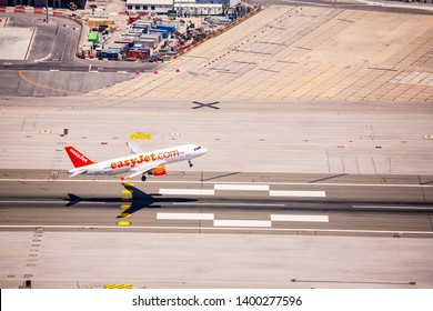 Gibraltar 02 July 2011: Easyjet plane as it is taking off on the runway at Gibraltar airport,