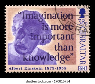 GIBRALTAR - 1998: A Gibraltar Postage stamp portraying an image of Albert Einstein and a quote, circa 1998.