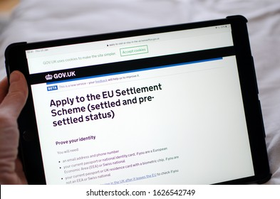 Gibraltar 23 January 2020: The application page on the Goverment website showing how to apply for Settled status in the UK