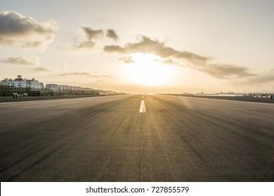 Gibraltar airport at sunset