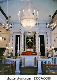 GIBRALTAR, GIBRALTAR - APRIL 14,2009: Gibraltar Flemish Synagogue 1799 Nefusot Yehuda Synagogue View Towards Ark.This synagogue reverts to the old Dutch customs and order of service.