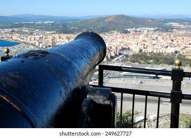 Gibraltar cannon overlooks La Linea Spain