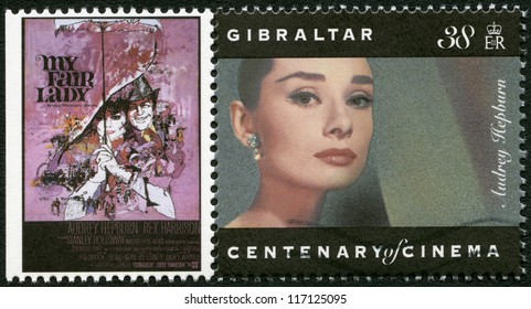 GIBRALTAR - CIRCA 1995: A stamp printed in Gibraltar shows Audrey Hepburn (1929-1993), actress, circa 1995