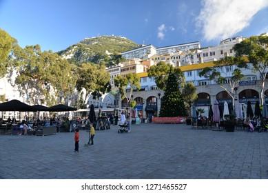 Gibraltar, Europe – December 22, 2018: Grand Casemates Square, Gibraltar, Europe