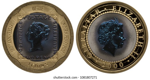 Gibraltar golden coin 1 one crown 2000, subject 160th Anniversary of Uniform Penny Post, adhesive postage stamp with head of Queen Victoria left, head of Queen Elizabeth II right,