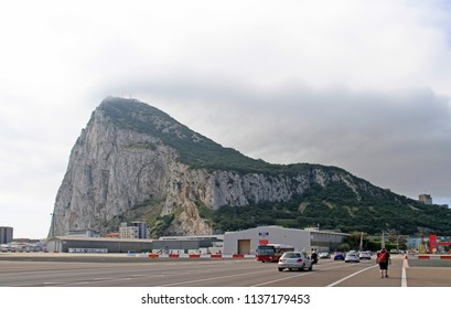 Gibraltar, Great Britain - May 6, 2015: View to the rock of Gibraltar, the british territory