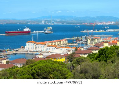 Gibraltar harbor, seaport, ships in the Bay of Algeciras (coast of Spain).