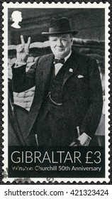 GIBRALTAR - MARCH 20, 2015: A stamp printed in Gibraltar shows Sir Winston Spencer Churchill (1874-1965), 50th anniversary, politician