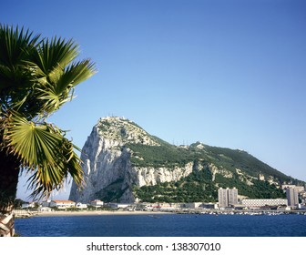 Gibraltar on a sunny day seen from across the bay
