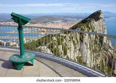 Gibraltar rock vantage point on southern Iberian Peninsula, La Linea city in Spain at the far end.