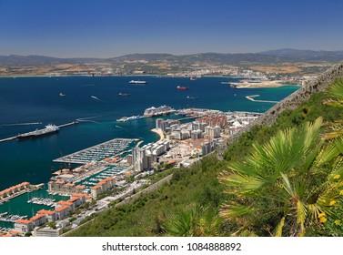 Gibraltar skyline, aerial view
