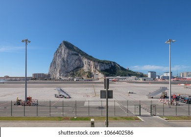GIBRALTAR, SPAIN: 12-MAY 2017: Rock of Gibraltar  viewed from Gibralta Airport on a sunny day in May 2017.